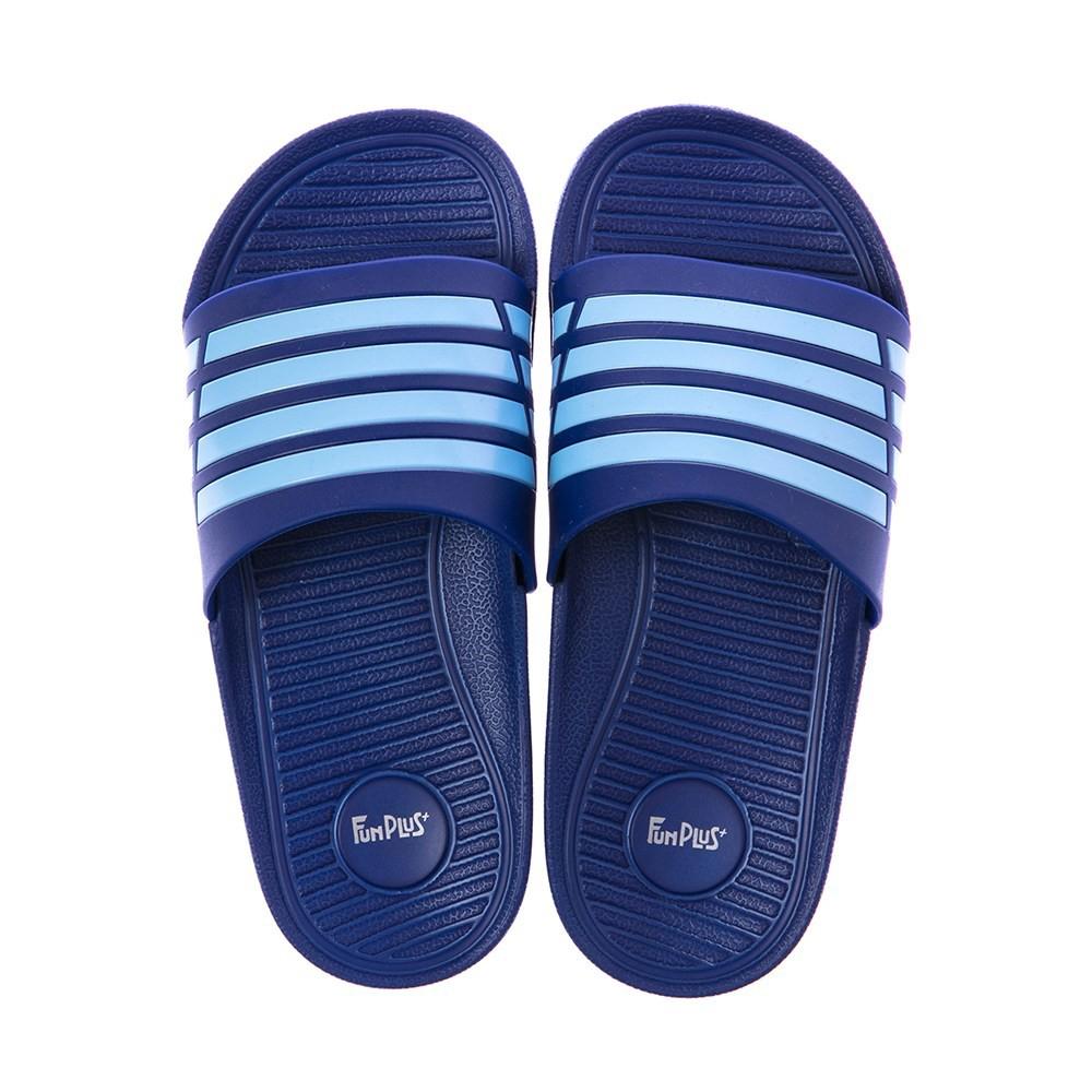 HOLA 潮流雙色帶童拖鞋-藍18