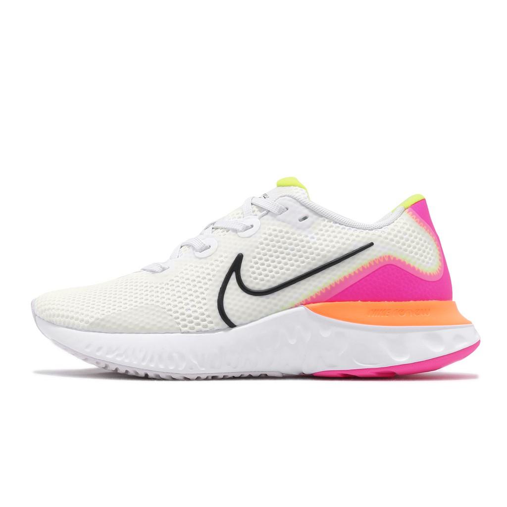 Nike 慢跑鞋 Wmns Renew Run 運動鞋 白 橘 粉紅 女鞋 CK6360-005 【ACS】