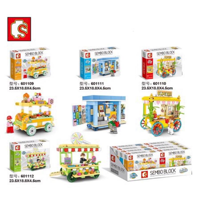 餐車積木 SEMBO 森寶SD601113-601116 城市系列 熱狗 遊戲 果汁 關東煮 外賣攤車 販售車