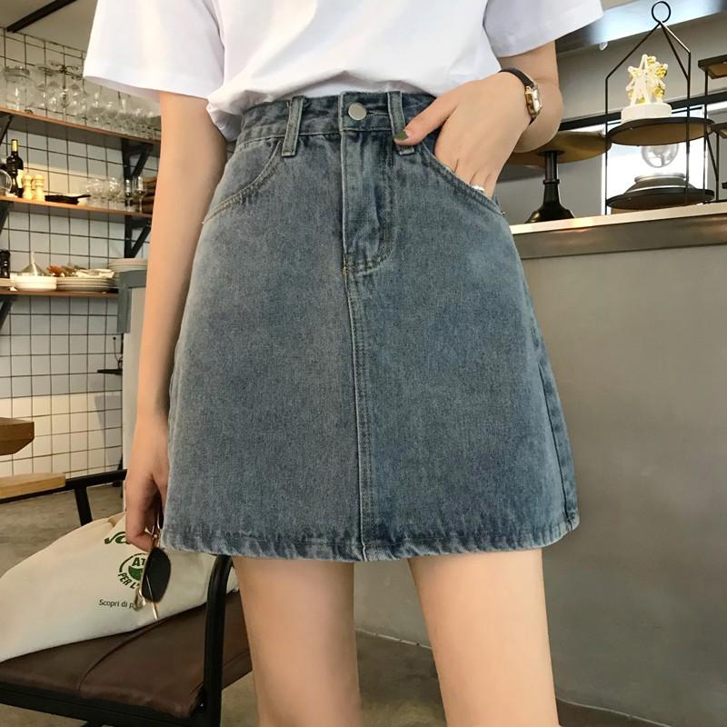 牛仔短裙女春夏2021新款ins風復古包臀裙高腰顯瘦遮胯a字半身裙子