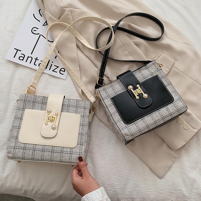 【免運】韓國包包 格子控 小方包 韓版時尚單肩包簡約百搭斜挎包法式小眾側背包
