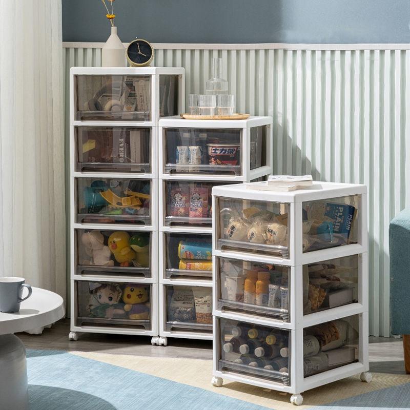 斜口收納箱 前開式 整理箱 收納箱透明塑料儲物盒家用抽屜式零食衣服收納柜子兒童玩具整理箱