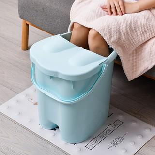 【台灣快速出貨】泡腳桶洗腳桶足浴桶洗腳盆足浴盆帶蓋加高加厚按摩塑料過膝神器【優惠商家】