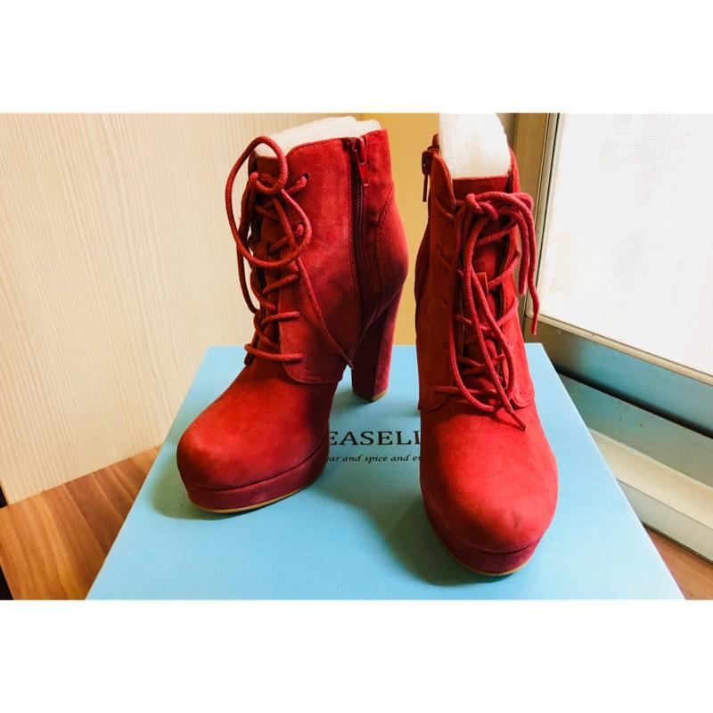 專櫃美鞋 JEASELLE 皮革拉鍊高跟短靴 深紅色 二手 已送洗 表面有痕跡 可議價 35號