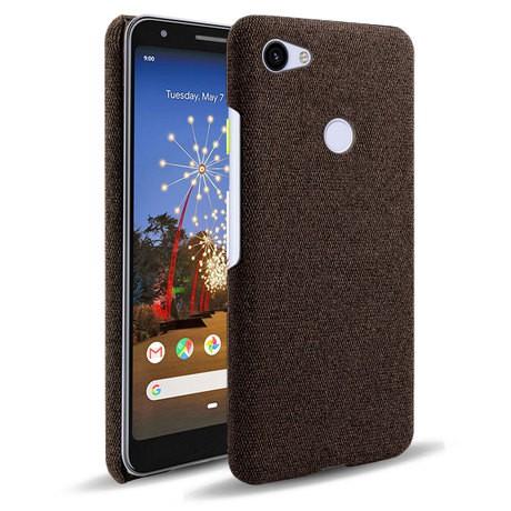 ♘爆款谷歌Pixel 3A手機殼 Pixel 3A布紋皮套 創意純色保護殼套熱賣