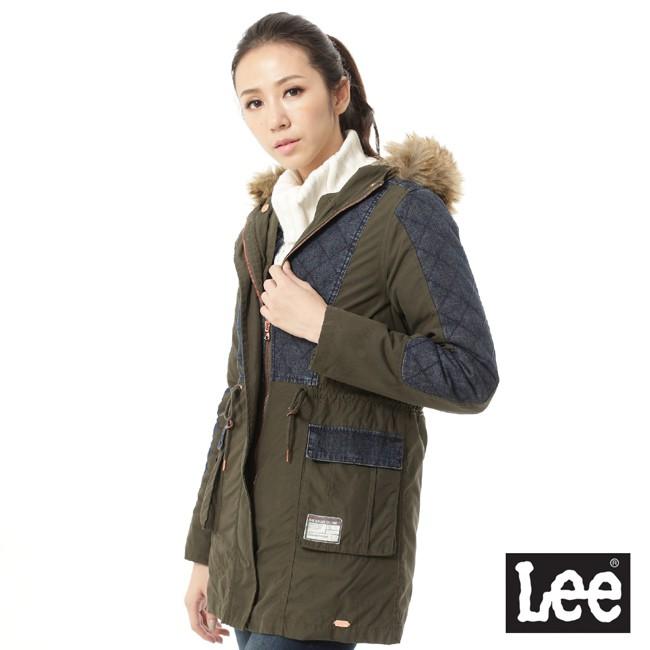 Lee 鋪棉外套 連帽牛仔拼接長版 女 藍和墨綠 Mainline