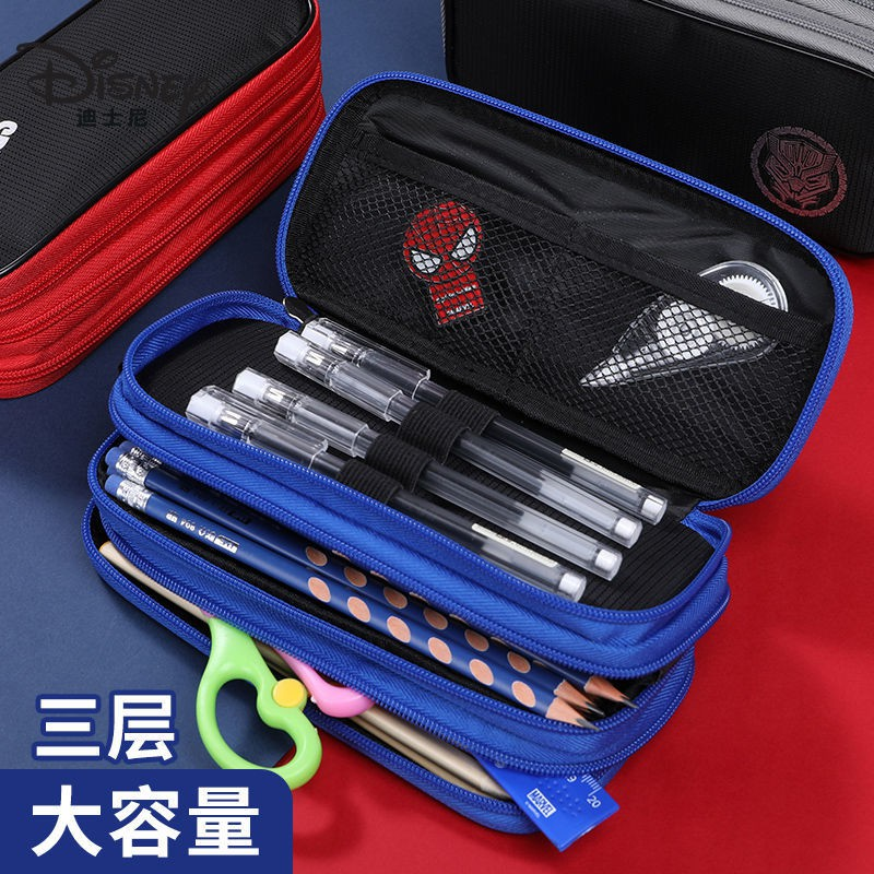 迪士尼筆袋男生韓版潮流簡約初高中生大容量文具盒三層帆布鉛筆盒