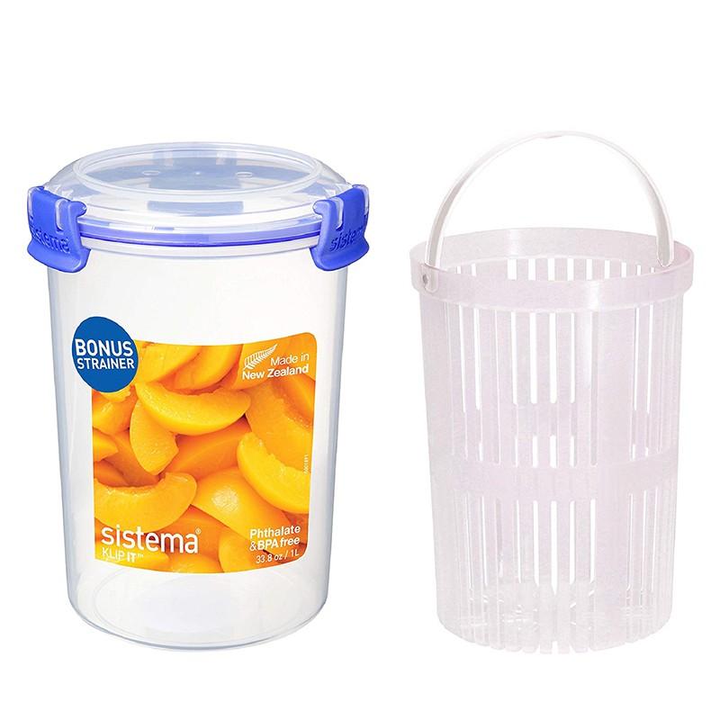 SISTEMA紐西蘭進口扣式圓筒保鮮罐 附瀝水籃(1L)