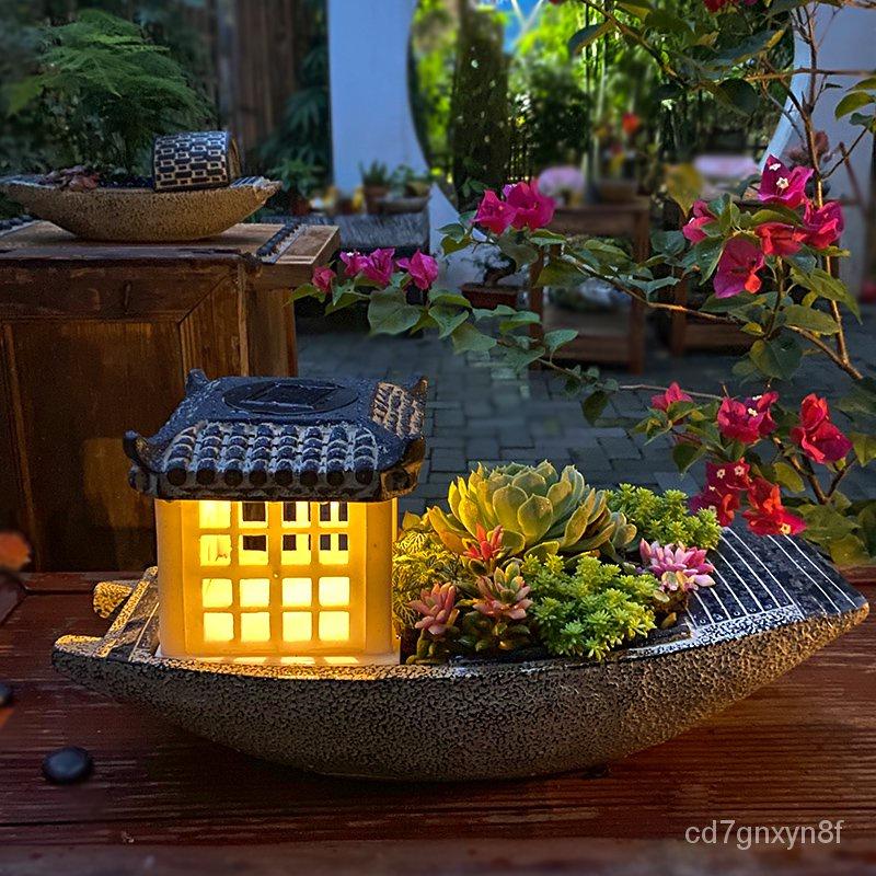 ❀現貨❀太陽能庭院景觀戶外檯燈中式小院子花園布置露台裝飾多肉花盆燈