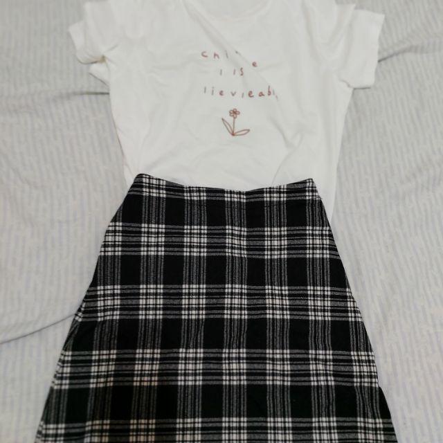 pazzo 黑色格紋短裙 尺寸:M