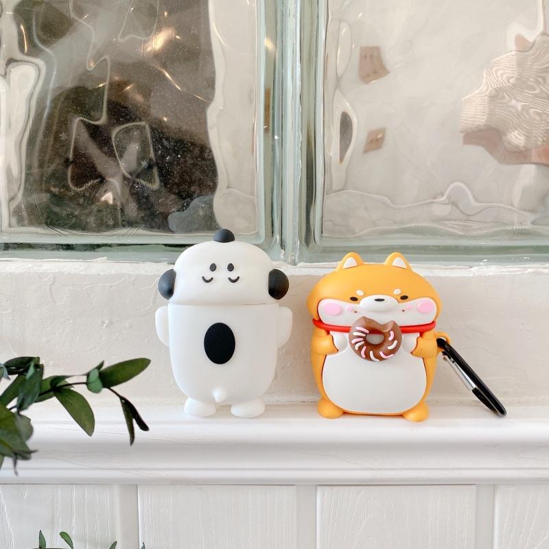 甜甜圈柴犬適用AirPods保護套蘋果1/2/Pro耳機套可愛卡通情侶軟殼