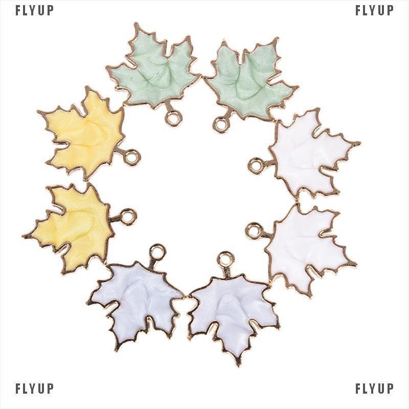 10件/套搪瓷合金手工楓葉吊墜吊墜DIY工藝飾品禮物FLYUP