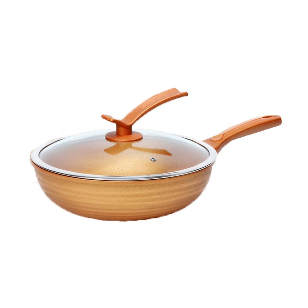 【Kawasaki】黃金福氣開運不沾炒鍋30cm-附鍋蓋