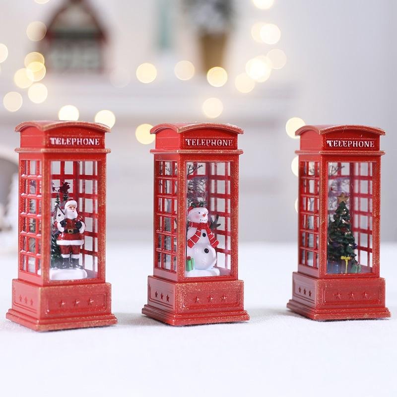 [10-30]圣誕節LED火焰燈擺件電話亭小油燈道具咖啡廳KTV場景布置裝飾風燈