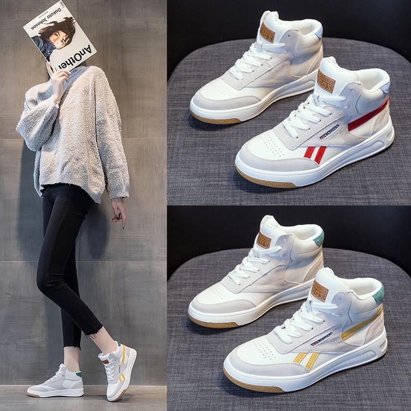 小白鞋女2020新款冬季加絨女鞋休閑真皮高幫鞋子運動百搭板鞋秋季現貨41212