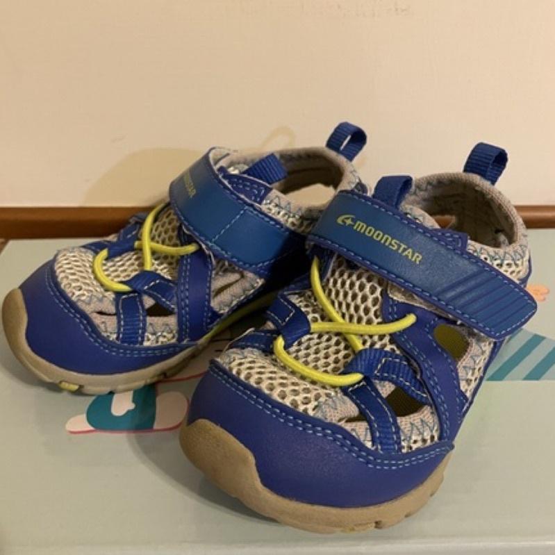 【二手】日本進口Moonstar月星 男童藍色涼鞋 15公分