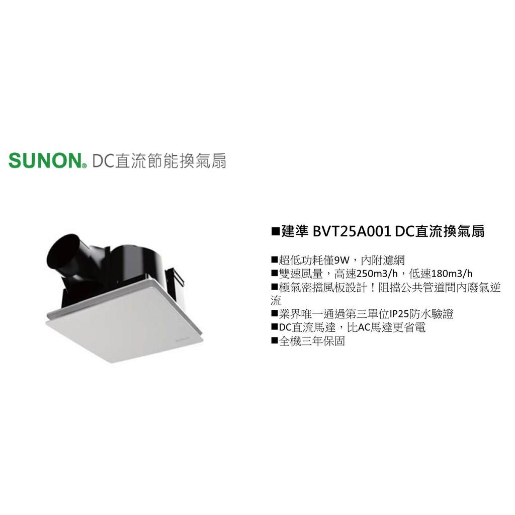 ※浴室抽風機專賣※建準 SUNON DC直流變頻換氣扇 浴室抽風機 全電壓 BVT25A001