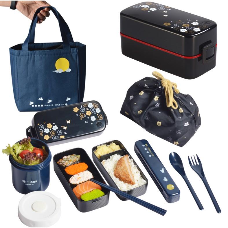 日本ASVEL雙層飯盒便當盒日式餐盒可微波爐加熱塑膠 分隔午餐盒