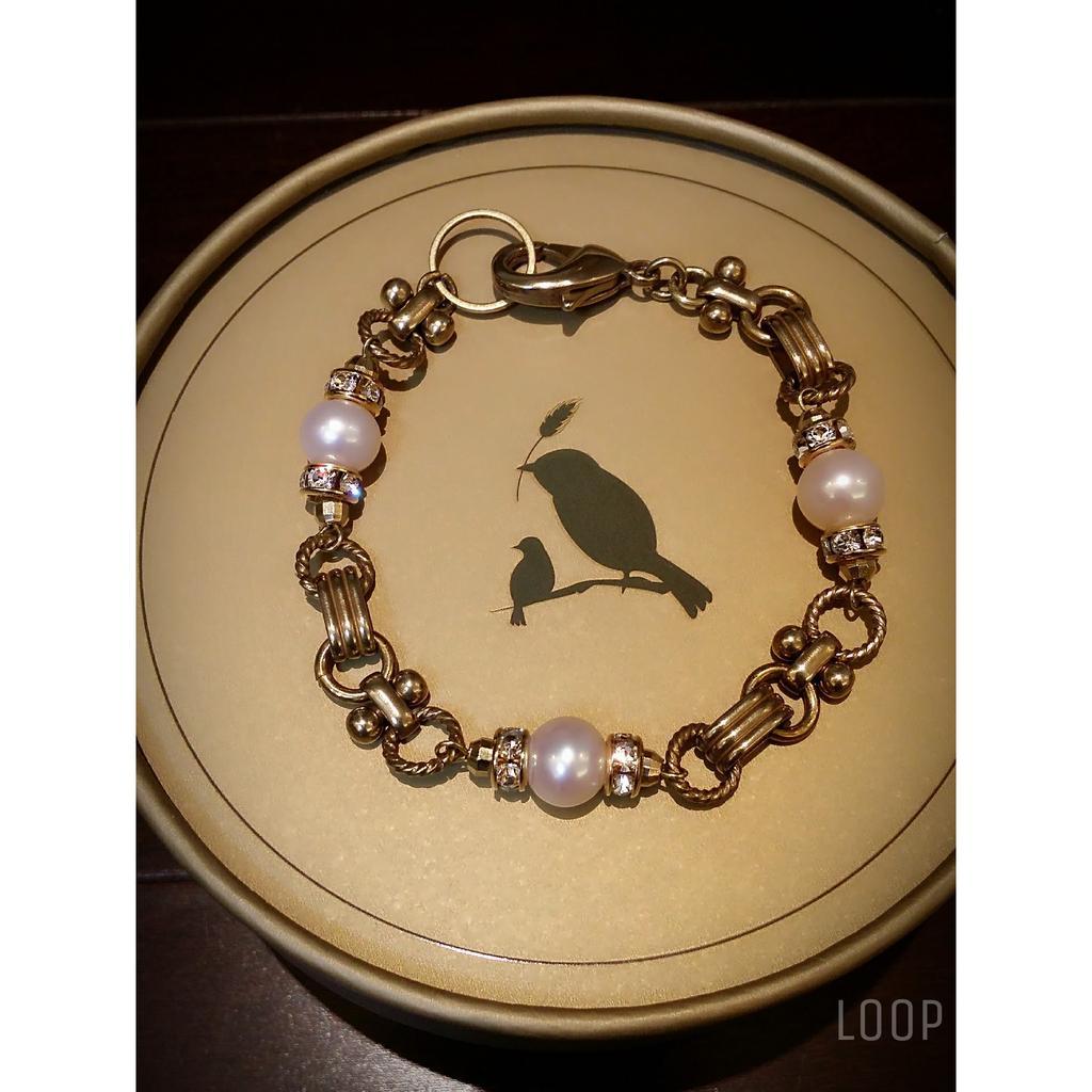 純潔的淚滴 手工製黃銅珍珠手鍊