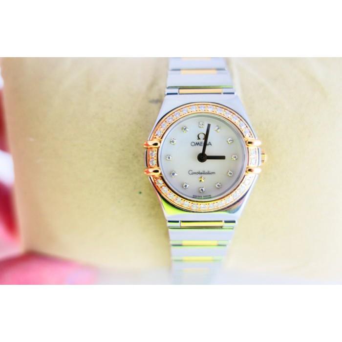 [吉宏精品交流中心]OMEGA 歐米茄 星座 原鑲鑽 22mm 半金 石英 女錶(現金回收二手錶)