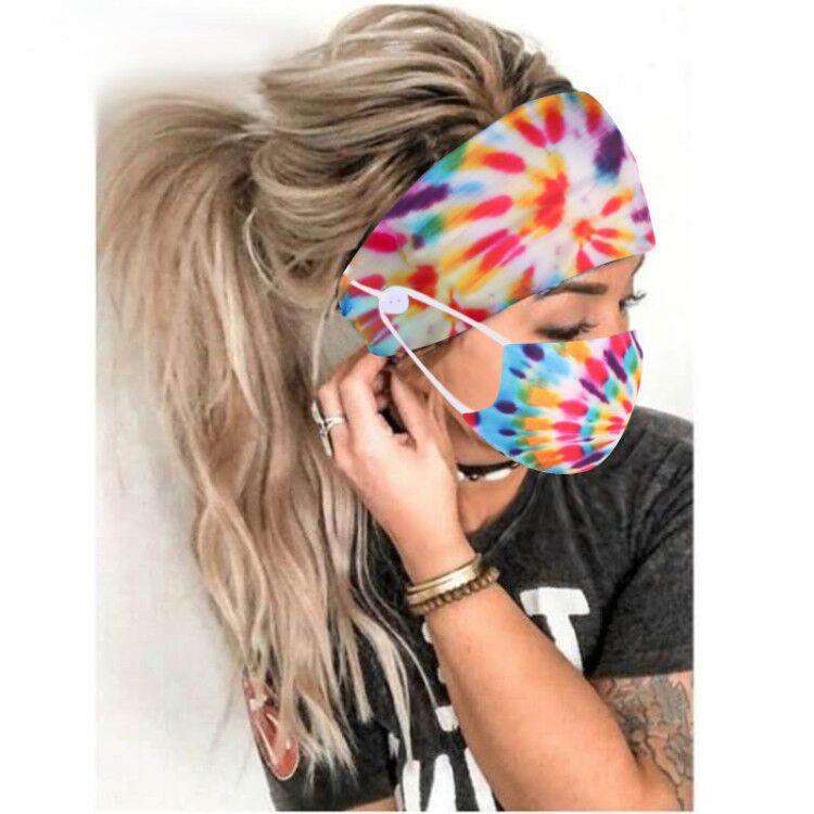 小灰灰推薦 品質現貨 套裝中衛口罩 扎染螺旋棉鈕釦防勒髮帶口罩頭巾頭飾品 瑜伽運動彈力頭帶