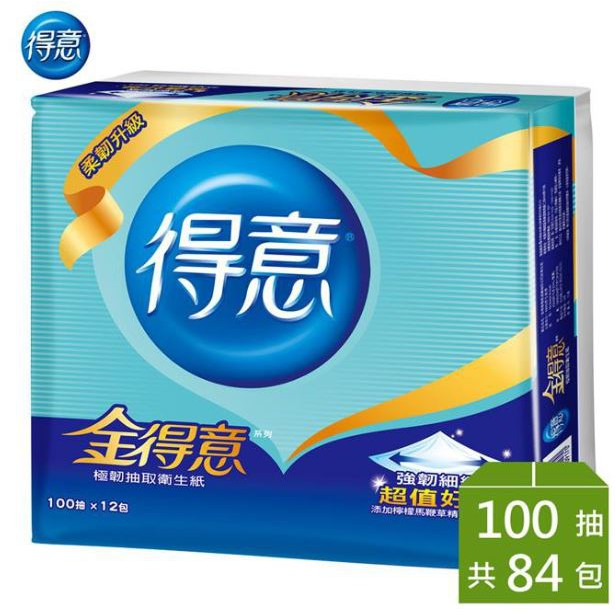 【宅配免運】金得意 連續 花紋 抽取式 衛生紙 100抽 70包