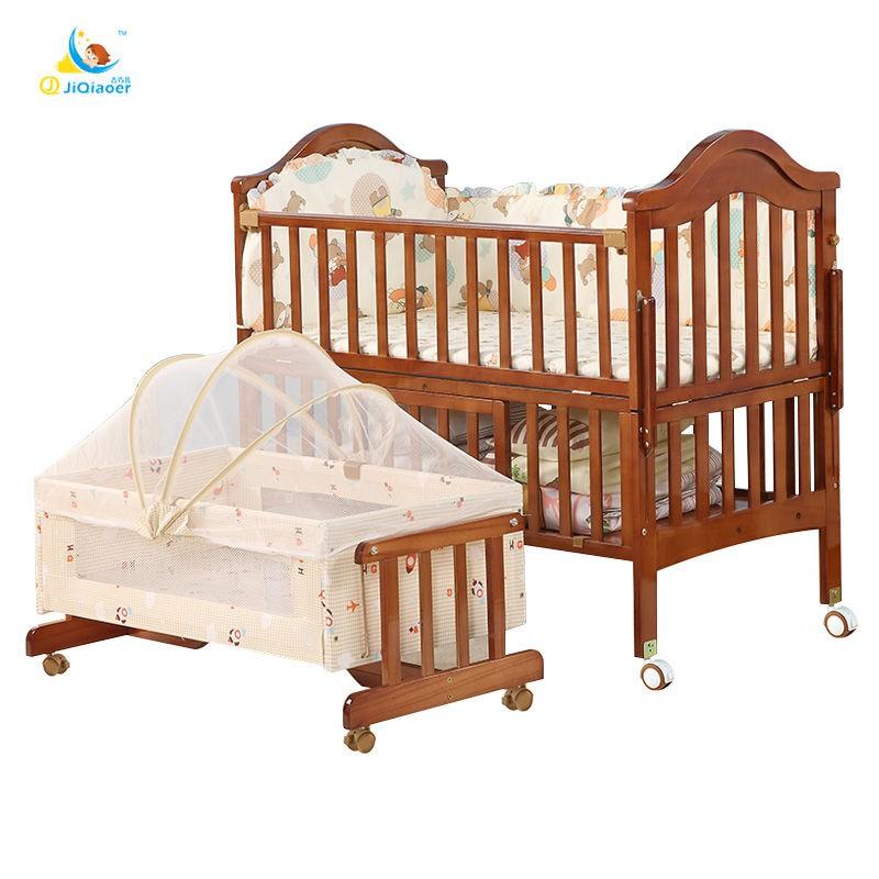 【宇酬家居】吉巧兒實木嬰兒床拼接大床歐式多功能搖籃床新生兒bb床寶寶兒童床