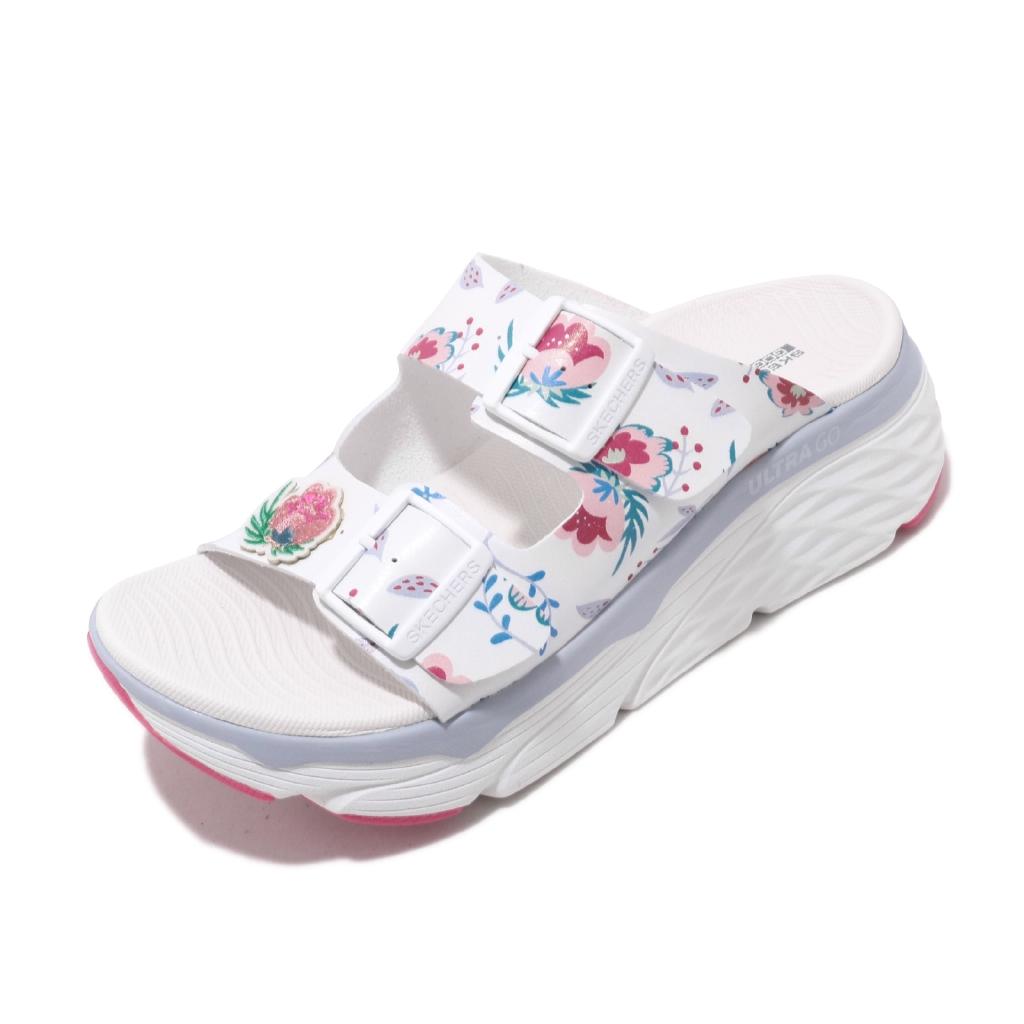 Skechers 拖鞋 Max Cushioning 白 花花 厚底 女鞋 涼拖鞋 【ACS】 140119WMLT