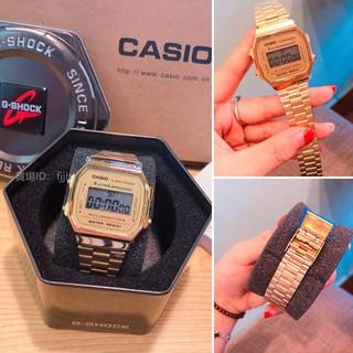 CASIO 卡西歐金色復刻版復古潮流金錶 方型數位電子錶中性男女可戴(A-168WG - 9 W)000