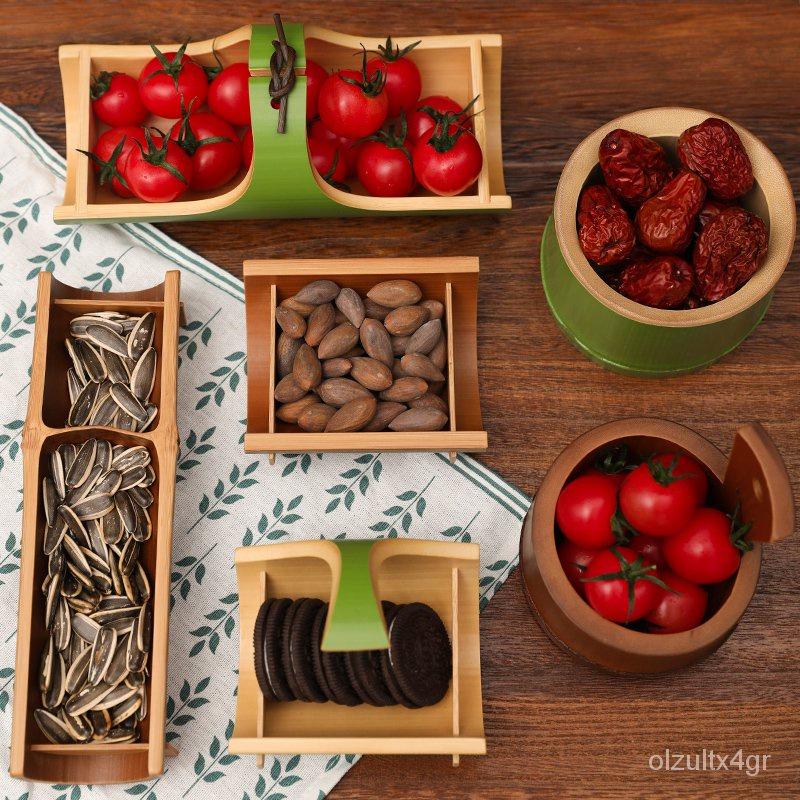 (家居收納)(收納籃){台灣發貨}天然竹製茶點盤仿古船型日式和風零食水果點心盤茶道零配中國風 PGaq
