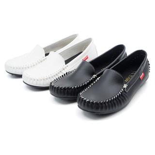 【101玩shoes】MIT 36-40碼 素面手工縫線經典平底樂福女鞋包鞋休閒鞋小白鞋 白色/ 黑色 台南市