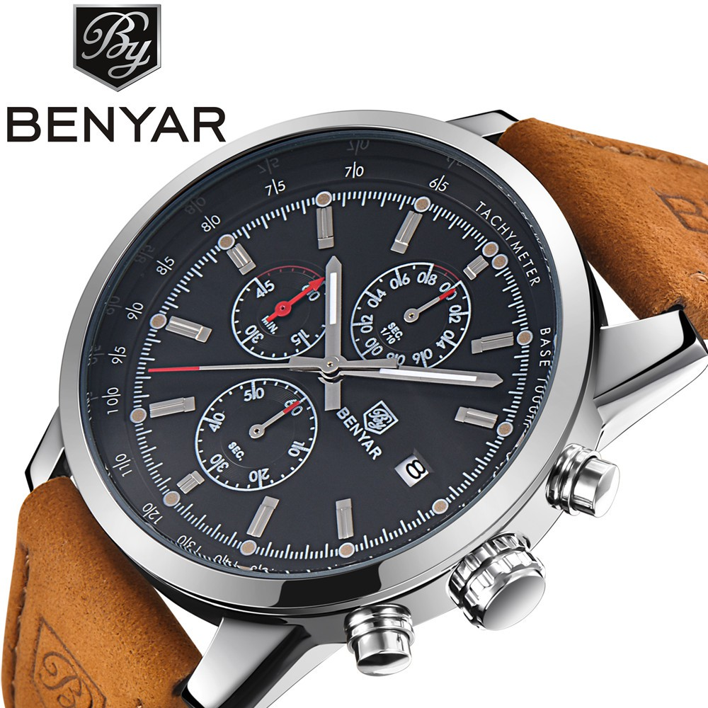Benyar男士皮革運動石英計時碼表軍事腕錶
