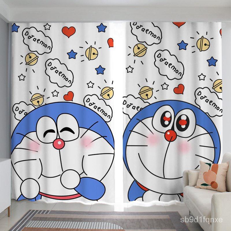 茗軒【門簾】卡通動漫哆啦A夢家用兒童房窗簾臥室客廳飄窗隔斷叮當貓遮光布