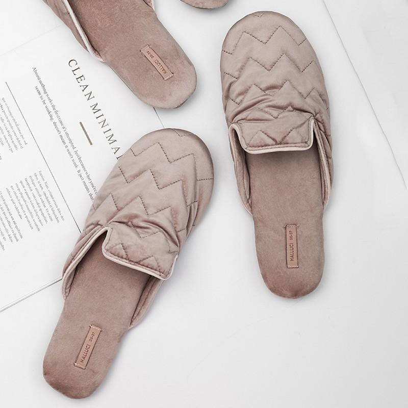 【钉钉包装】態生活北歐簡約女生絲絨刺繡波浪紋居家鞋辦公室靜音防滑四季拖鞋