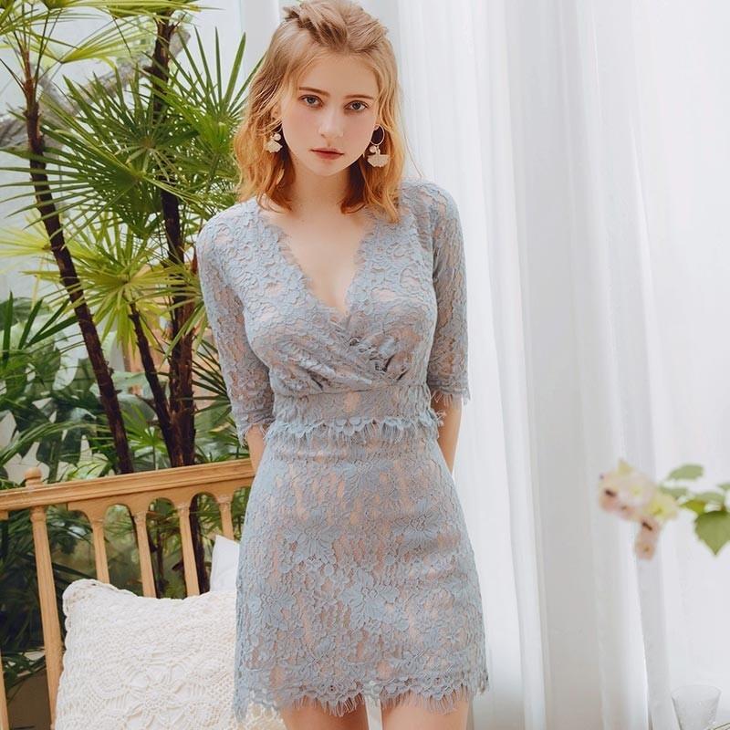 【全新轉賣】AIR SPACE 浪漫風蕾絲窄短裙(藍灰)