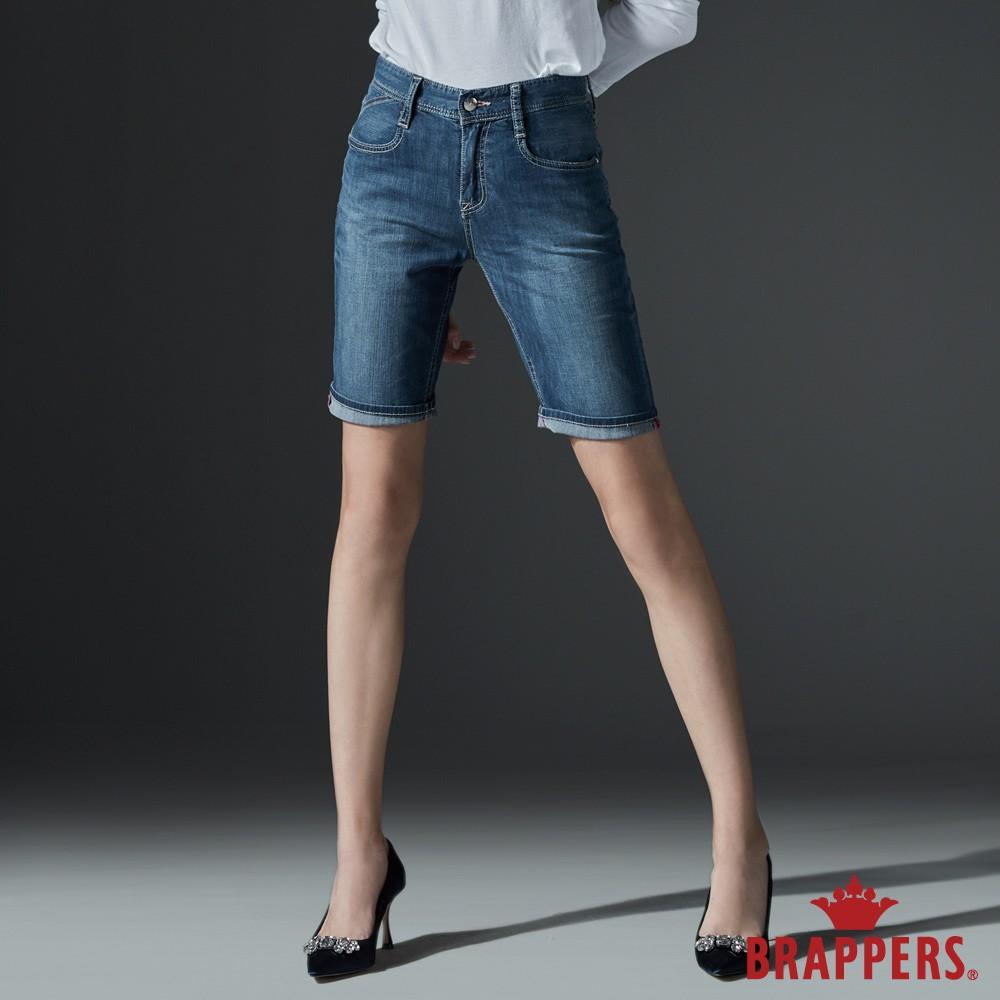 BRAPPERS 女款 Boy friend系列-彈性五分褲-藍