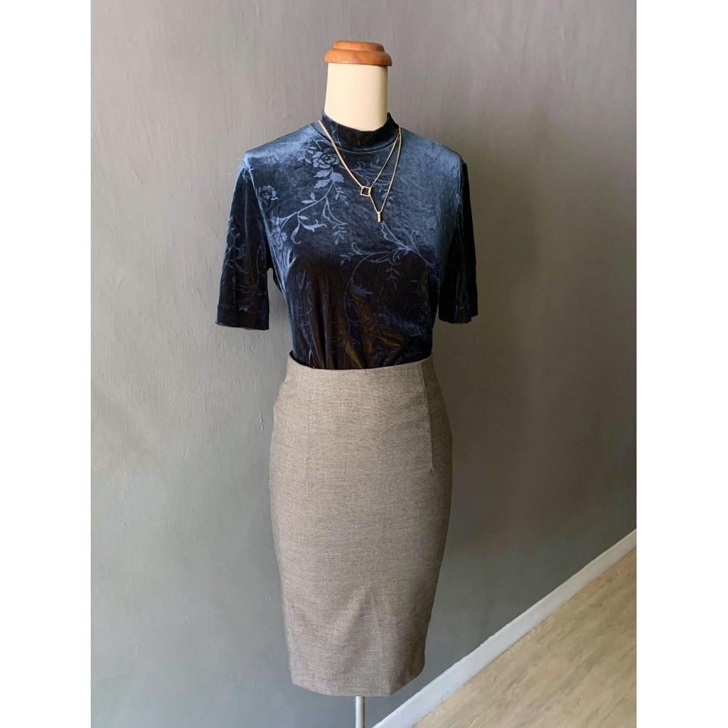 ZARA 灰咖啡細格子棉質高腰鉛筆裙,xs/s