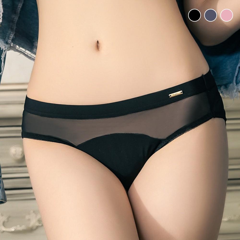 Mini Queen 內褲 有氧日記 (3色M-XXXL)【獨家】唯美花瓣蕾絲性感透膚絲質三角褲