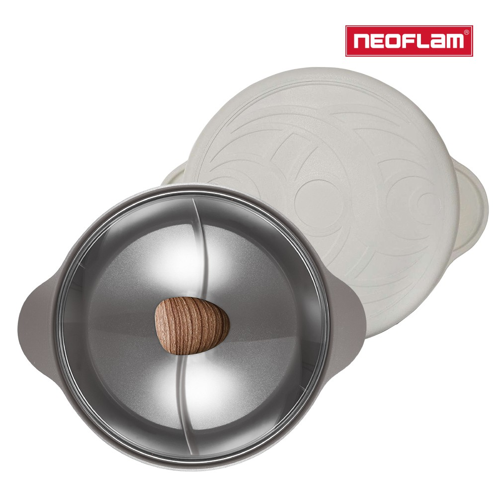 NEOFLAM 陶瓷不沾鑄造28公分鴛鴦鍋含玻璃蓋(IH爐適用/可直火) 三色任選
