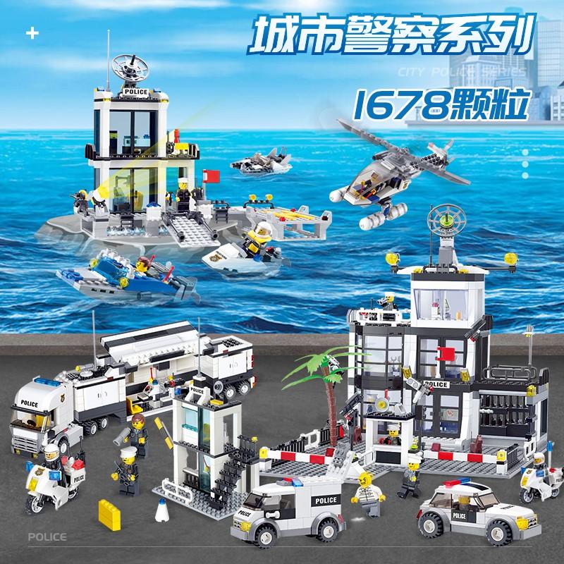 👏👏dyt168兼容城市警察系列樂高海上警察局汽車玩具益智拼插積木男孩警察車