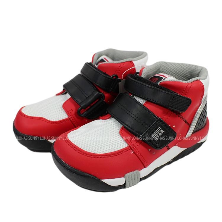 (BX)Moonstar 日本品牌 機能 抗菌 除臭 矯正鞋 中高筒 運動鞋 魔鬼氈 童鞋   CRC21402 紅