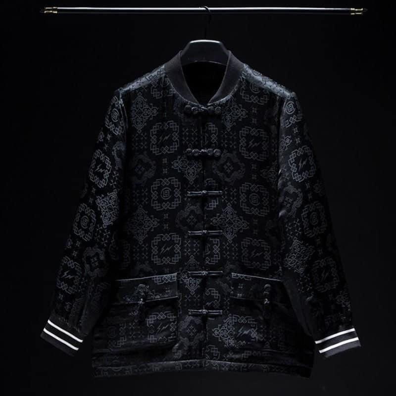 Clot x Fragment 黑絲綢棒球外套