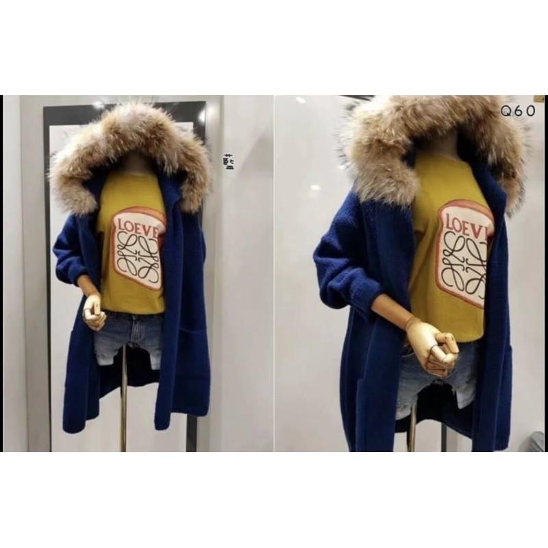 正韓狐狸毛單釦羊毛針織外套
