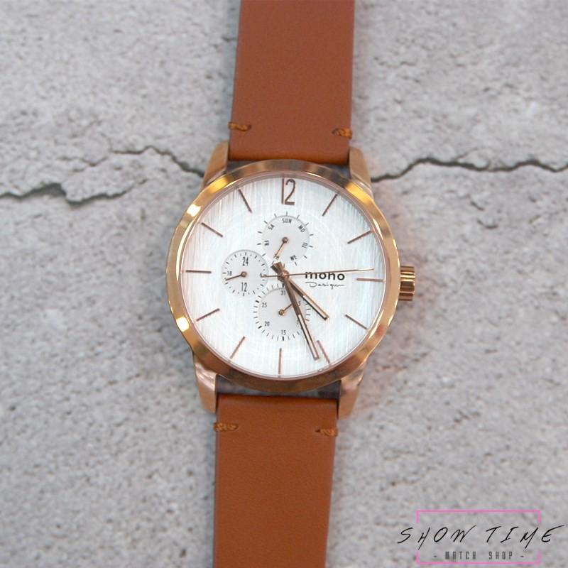 曼諾 MONO 時尚簡約美學三眼木紋面盤腕錶-棕色皮帶/白面玫瑰金 5028-456 [ 秀時堂 ]