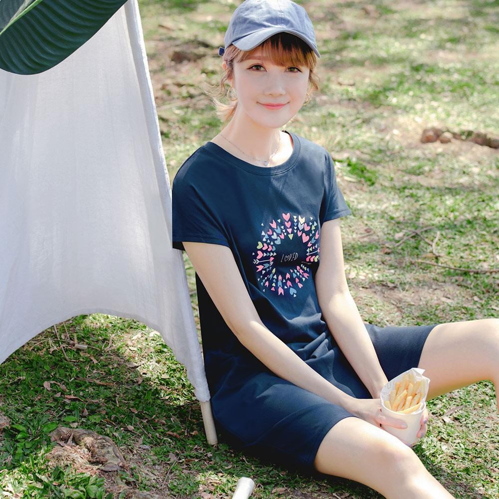 親子系列~高含棉LOVE幾何印圖洋裝 《DA8337》
