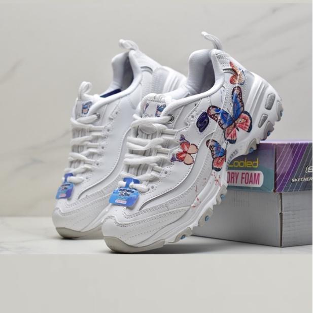 SKECHERS斯凱奇女鞋新品厚底老爹鞋時尚潮蝴蝶刺繡熊貓鞋運動鞋149233