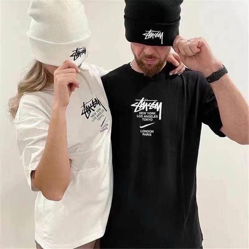 實拍 Stussy x Nike 21SS 聯名 限定 短袖 短T T恤 胸前logo 男女 寬鬆 上衣