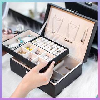 大容量多功能雙層耳環收納盒 歐式皮質手錶項鍊耳釘髮夾吊墜手鐲收納箱 居家生活小物件 珠寶首飾收納盒 aYZR