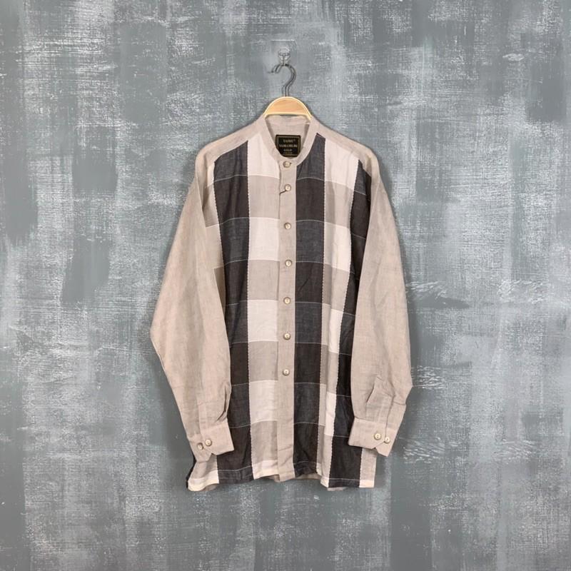 《 福星Flexing✨》YASHI YAMAMURI GOLD 義大利 品牌 格紋 拼接 拼色 亨利領 長袖襯衫 古著