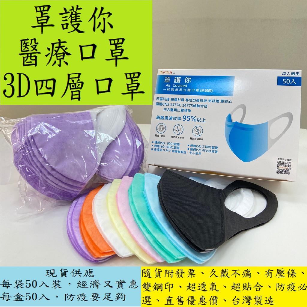 一盒50入【現貨】 罩護你 3D立體醫療口罩 成人口罩(尺寸M、L)  台灣製 四層結構